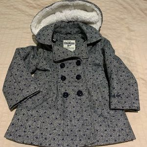 Navy and gray pea coat with fur hood